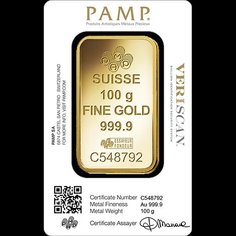 100 Gram Pamp Gold Bar