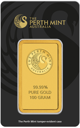 100g Perth Mint Gold Bar