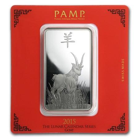 100 gram PAMP Lunar Goat Silver Bar