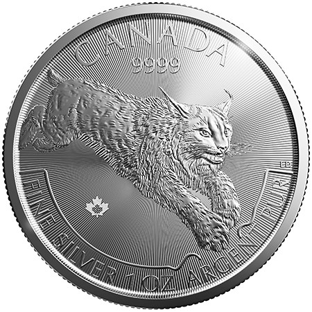 1oz  Canadian Mint Silver Lynx Coin
